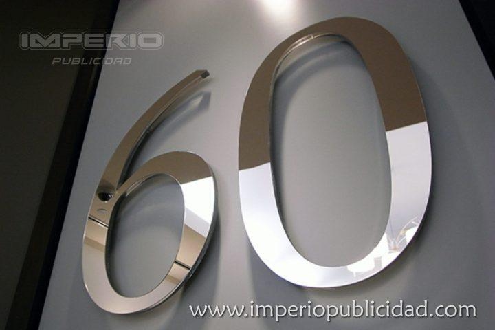 Numeros de acero inoxidable pulidi espejo